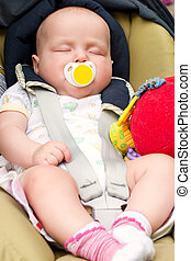 Sleeping Infant - Four month infant sleeping in a car seat