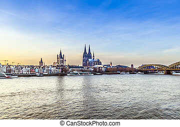 Cologne city line - Cologne skyline with dome and river...