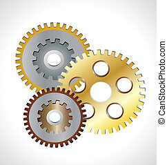 Golden gear wheels logo - Golden gear wheels working concept...