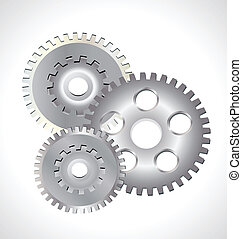 Silver gear wheels logo - Silver gear wheels working concept...