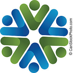 Teamwork business people logo vector design