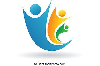 Family team logo - Family team symbolic and conceptual logo...
