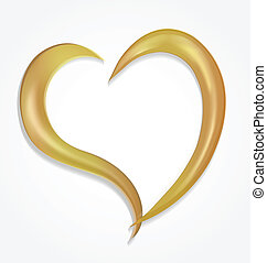 Gold vector Valentines heart logo