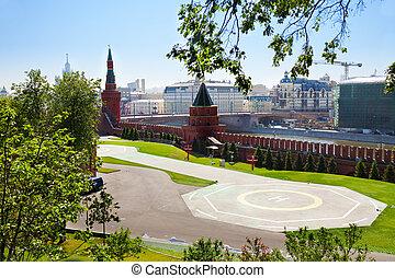 Helipad in Kremlin, Moscow, Russia - Helipad in Kremlin near...