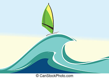 Vector sea windsurfing illustration - sea windsurfing....
