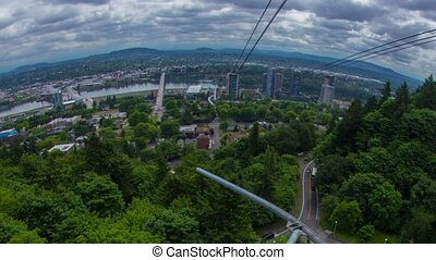 Portland Above Downtown Cloudy 596 - Time lapse of downtown...