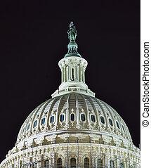 北, 国会議事堂, ワシントン, の上, 私達, ドーム, 旗, 星, 夜, 終わり, 側