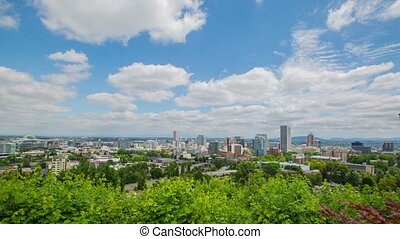 Portland Above Downtown Sunny 587 - Time lapse of downtown...