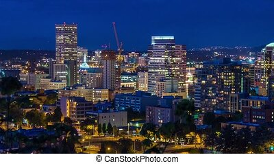 Portland Above Downtown Night 659 - Time lapse of downtown...