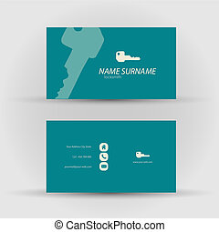 business card - locksmith - Set of modern vector business...