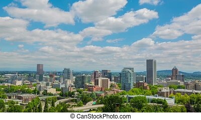 Portland Above Downtown Sunny 589 - Time lapse of downtown...
