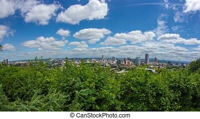 Portland Above Downtown Sunny 598 - Time lapse of downtown...