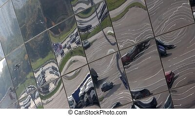 parking in the reflection - city intersection and parking in...