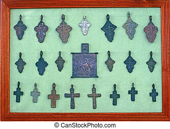 Collection of small old iron crucifixes...