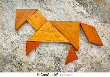tangram horse abstract - abstract picture of a horse built...