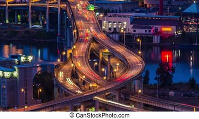 Portland Above Marquam Freeway 656 - Time lapse of the...