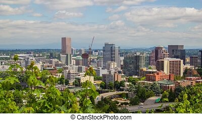 Portland Above Downtown Sunny 602 - Time lapse of downtown...