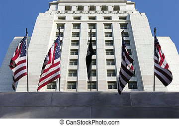 City Hall with Flags - US flags adorn los angeles city hall