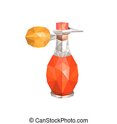 Illustration of abstract origami old parfume bottle,...