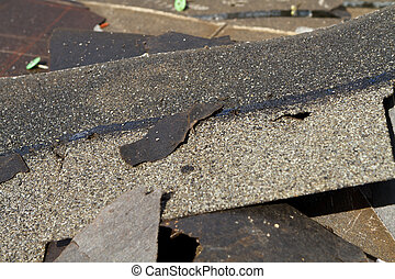 dañado, techo, Tablillas, basura, pila