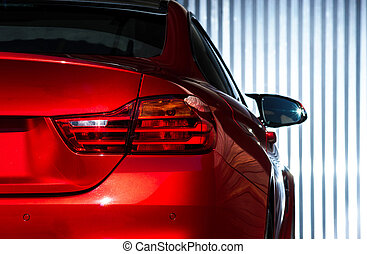 Luxury red car view - Luxury red car details view, elegant...