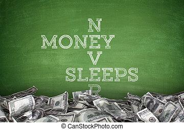 Money never sleeps on blackboard background - Money never...