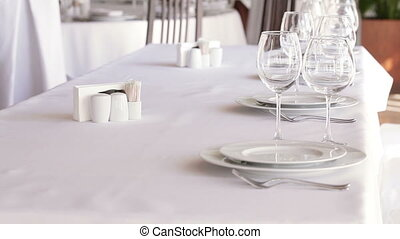 Served table - Focus to serve with wine glasses on...