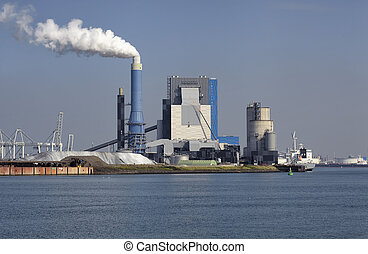 coal-fired power plant on the Maasvlakte, the industrial...