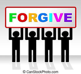 affiche, excuses, moyens, apologétique, signe, désolé