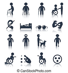 Disabled icons set black - Disabled people care assistance...