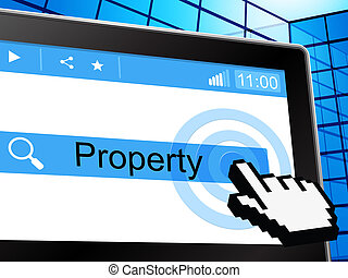 Online Property Represents World Wide Web And House -...