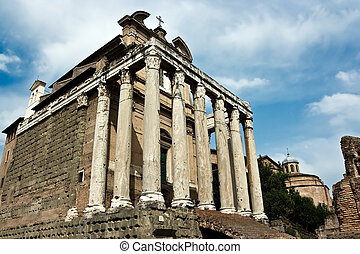 The ancient ruins of Roman forum Italy