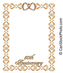 Wedding invitation border gold 50th - 3D scroll accents...