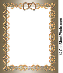 Wedding invitation gold border hearts - 3D scroll accents...