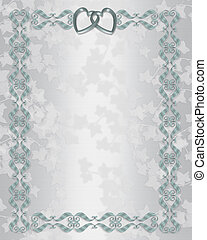 Wedding invitation border silver blue - 3D scroll accents...