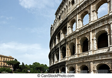 The ancient ruins of Roman coliseum. Italy.
