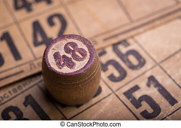 lotto  - old wooden lotto barrels and game cards