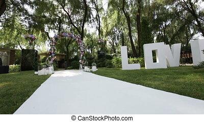 Decorated wedding arch