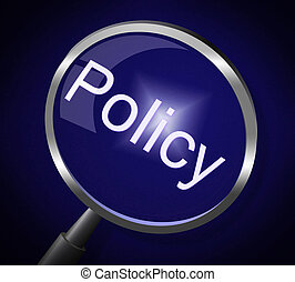 Policy Magnifier Shows Documentation Legal And Procedure -...