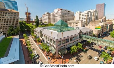 Portland Downtown Pioneer Place - Time lapse of downtown...