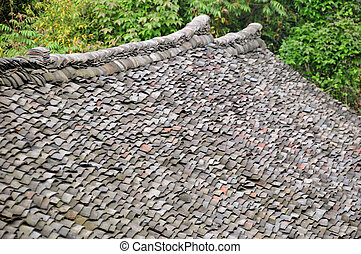 Old tiles on Chinese roof