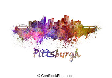 Pittsburgh skyline in watercolor splatters with clipping...