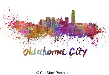Oklahoma City skyline in watercolor splatters with clipping...