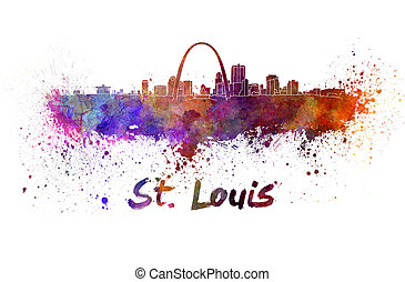 St Louis skyline in watercolor splatters with clipping path