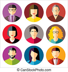 User Icons and People Icons in flat modern style. Vector...