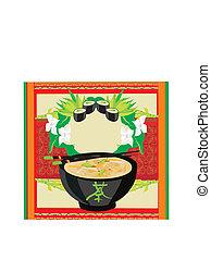 Japanese food menu - vintage card