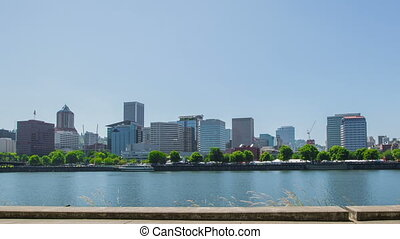 Portland Waterfront Downtown - Time lapse of walkers and...