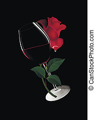 glass of wine with a rose - A glass of wine. Red wine in a...