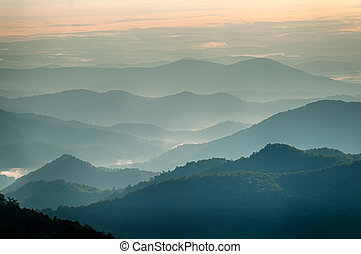 The simple layers of the Smokies at sunset - Smoky Mountain...