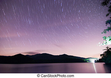 outer space over lake santeetlah in great smoky mountains in...